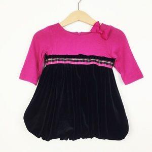 Hartstrings Pink & Black Velvet Bubble Dress